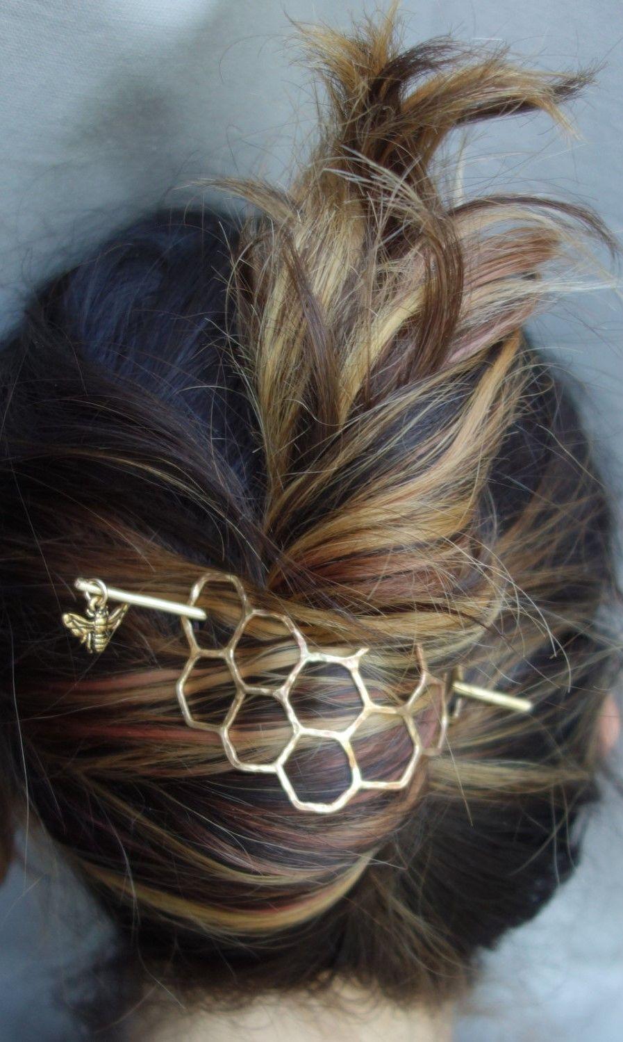 Large Brass Honeycomb Handmade Hair Bun Slide Pin With