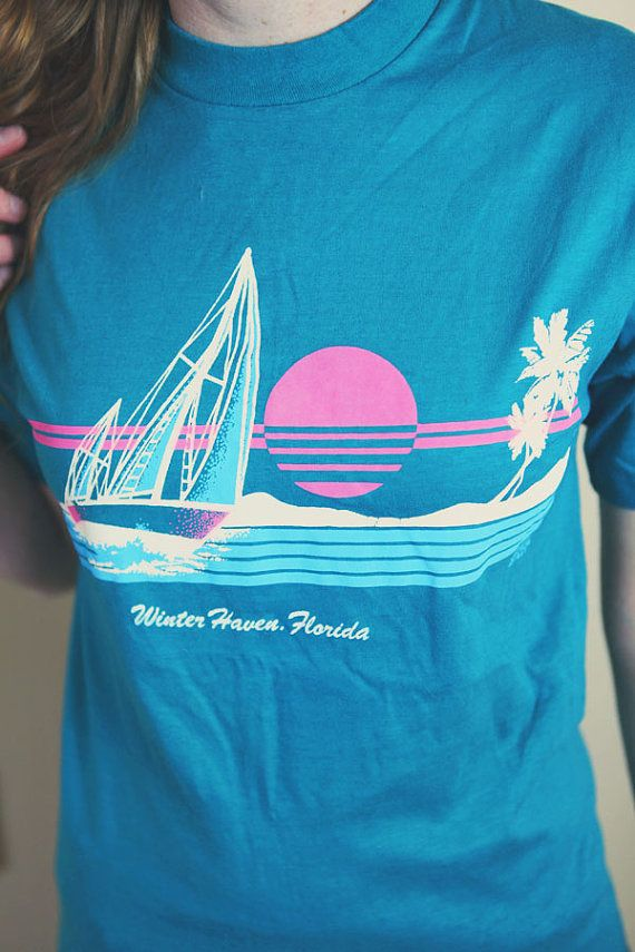 30d3cb9fdbd Vintage Winter Haven Florida Tee Shirt tshirt retro blue turquoise beach