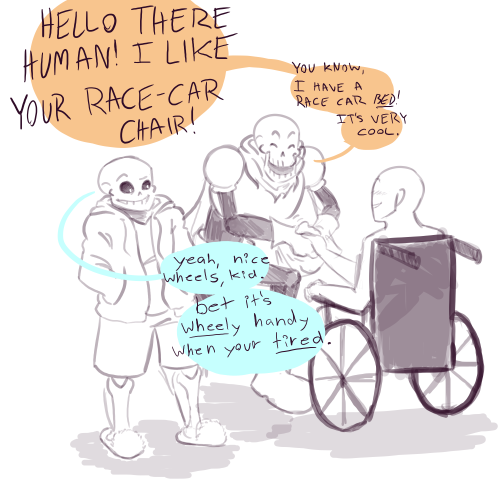 AWWWWW!! Papyrus and Sans meet a human in a wheelchair XD