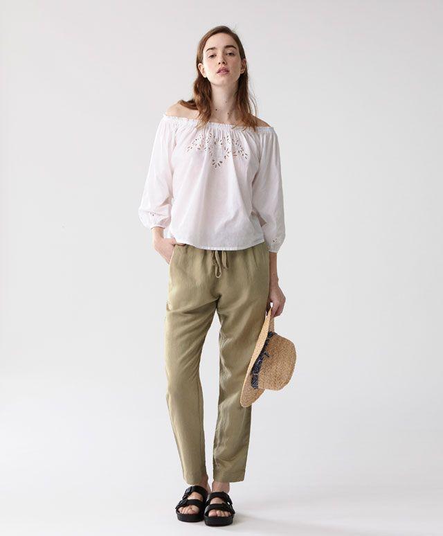 Calças de linho - Coleção -Tendências SS 2017 em moda de mulher na Oysho online: roupa interior, lingerie, roupa desportiva, étnica, boho, sapatos, complementos, acessórios e moda de banho.