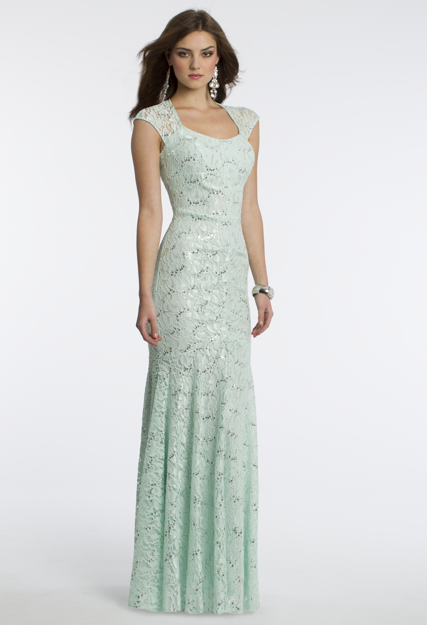 Camille La Vie Sequin Lace Prom Dress with Capped Sleeves