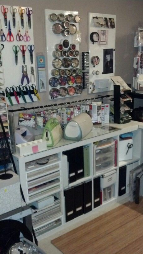 """For many years, I've moved scrapbooking supplies around my house, working at different tables, in different rooms; thinking that it was SO frustrating not to have a permanent space in order to make some real progress on the albums. Well, as the nest emptied, my wonderful daughter encouraged me to use her old bedroom as a craft room. After much reading, frugal shopping, repurposing & organizing I have a working craft room/guest room. (every one should look at the Ikea """"as is"""" section; it was…"""