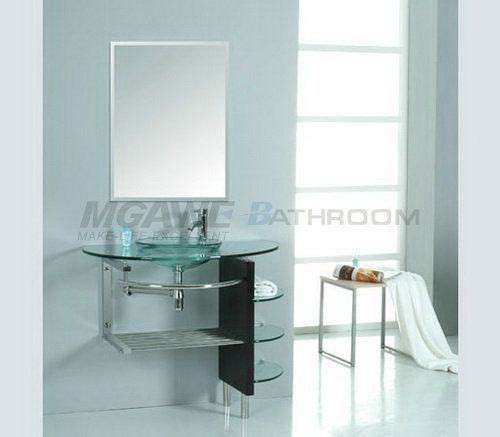 Glass Counter Top Glass Bowl Wood Stand Glass Shelves Stainless Steel Rack And Shelf Mirror Wall Bathroom Vessel Sink Vanity Vessel Sink Bathroom