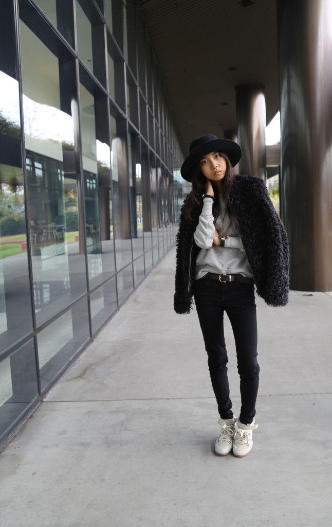 Black White . Wide Brimmed Hat