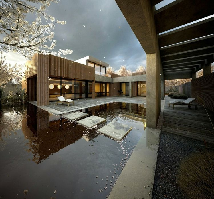 This rendering placed second and is almost japanese style with stepping stones in the pool a cherry blossom tree blowing its petals across it