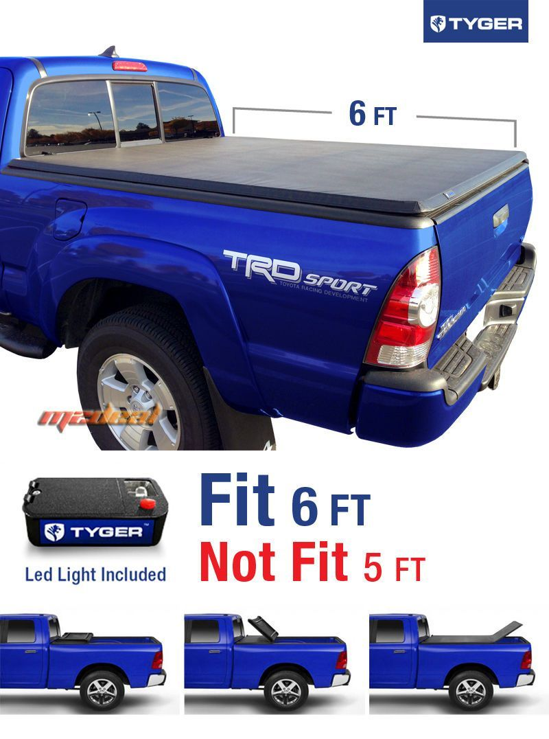 Tyger Tri Fold For 05 15 Toyota Tacoma 6ft 72in Bed Tonneau Tonno Cover Tonneau Cover Toyota Tacoma Tonno Cover