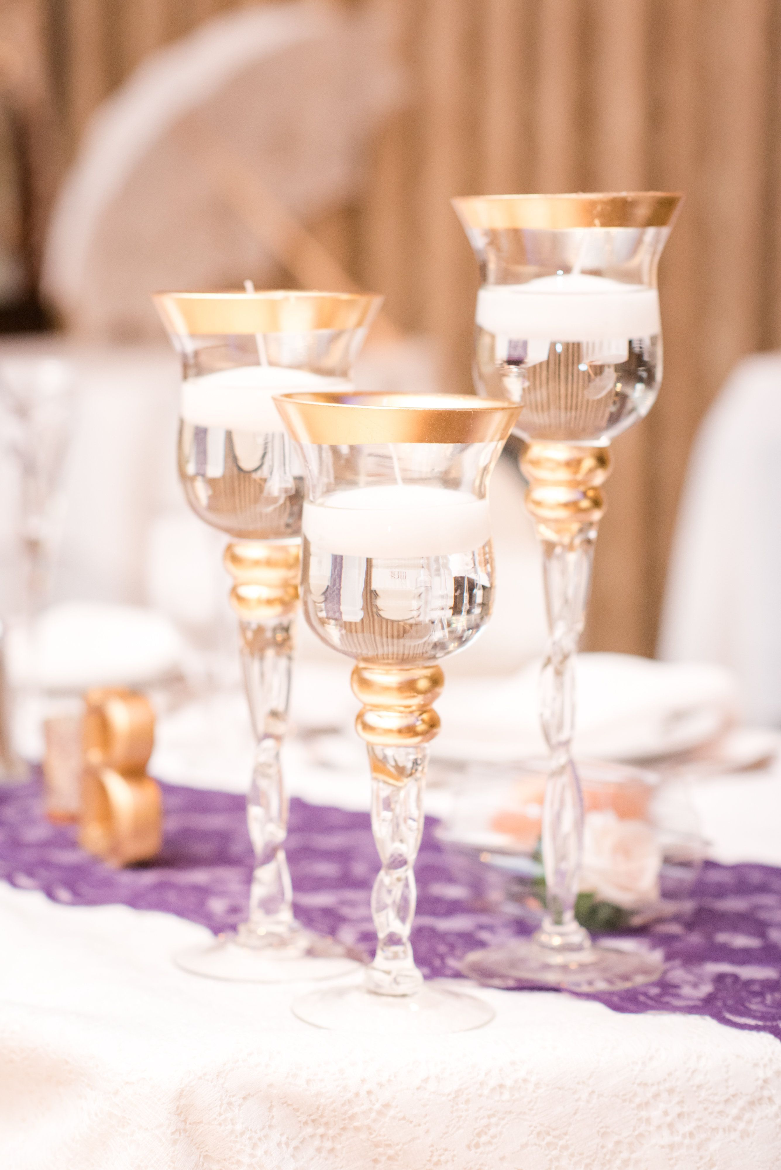 All white and gold wedding decor  White and gold candle centerpieces  Classic NJ wedding  The Manor