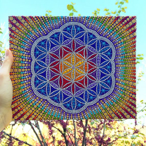 Amazing Flower Of Life Original Acrylic Painting Paint It