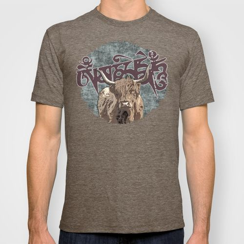 Tibetan Yak with Mani Mantra(six-syllabled Sanskrit mantra: OM MANI PADME HUM ) T-shirt by Nirvana.K | Society6