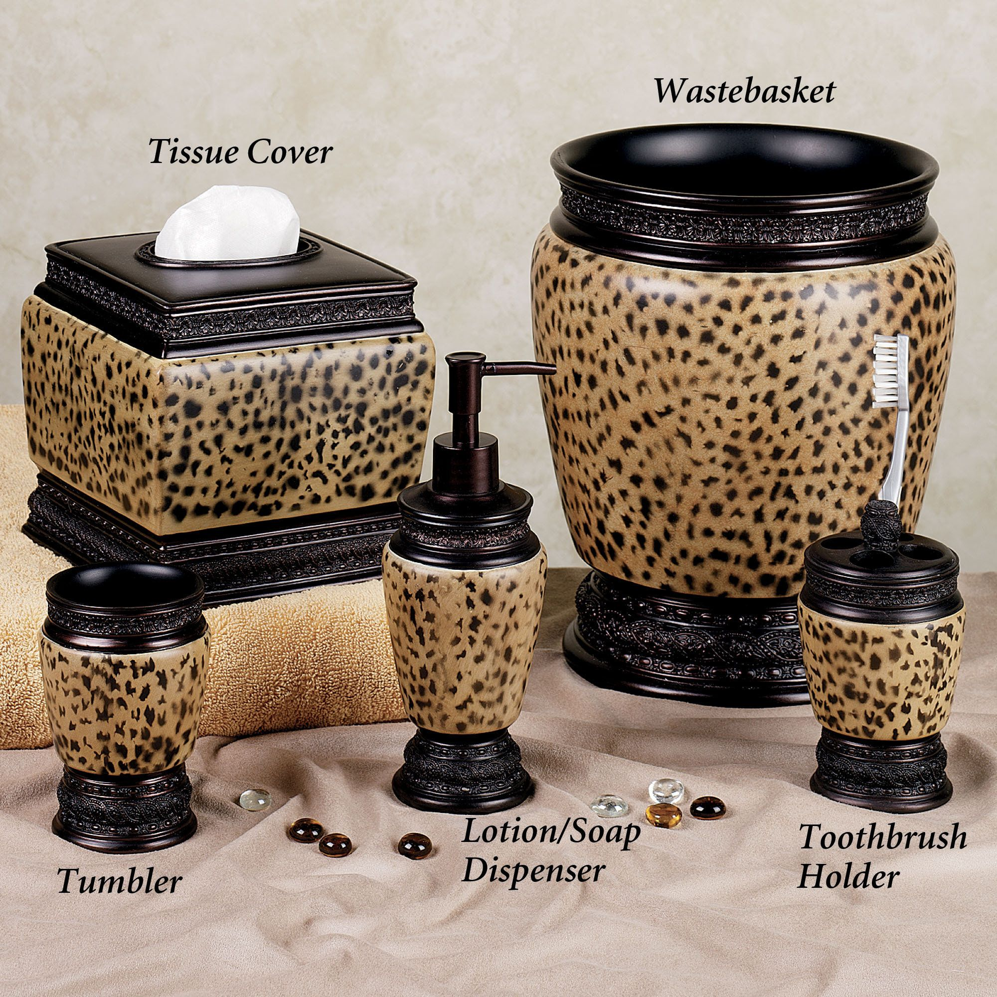 Cheetah themed rooms home dynasty lotion soap dispenser - Bathroom soap and lotion dispenser set ...