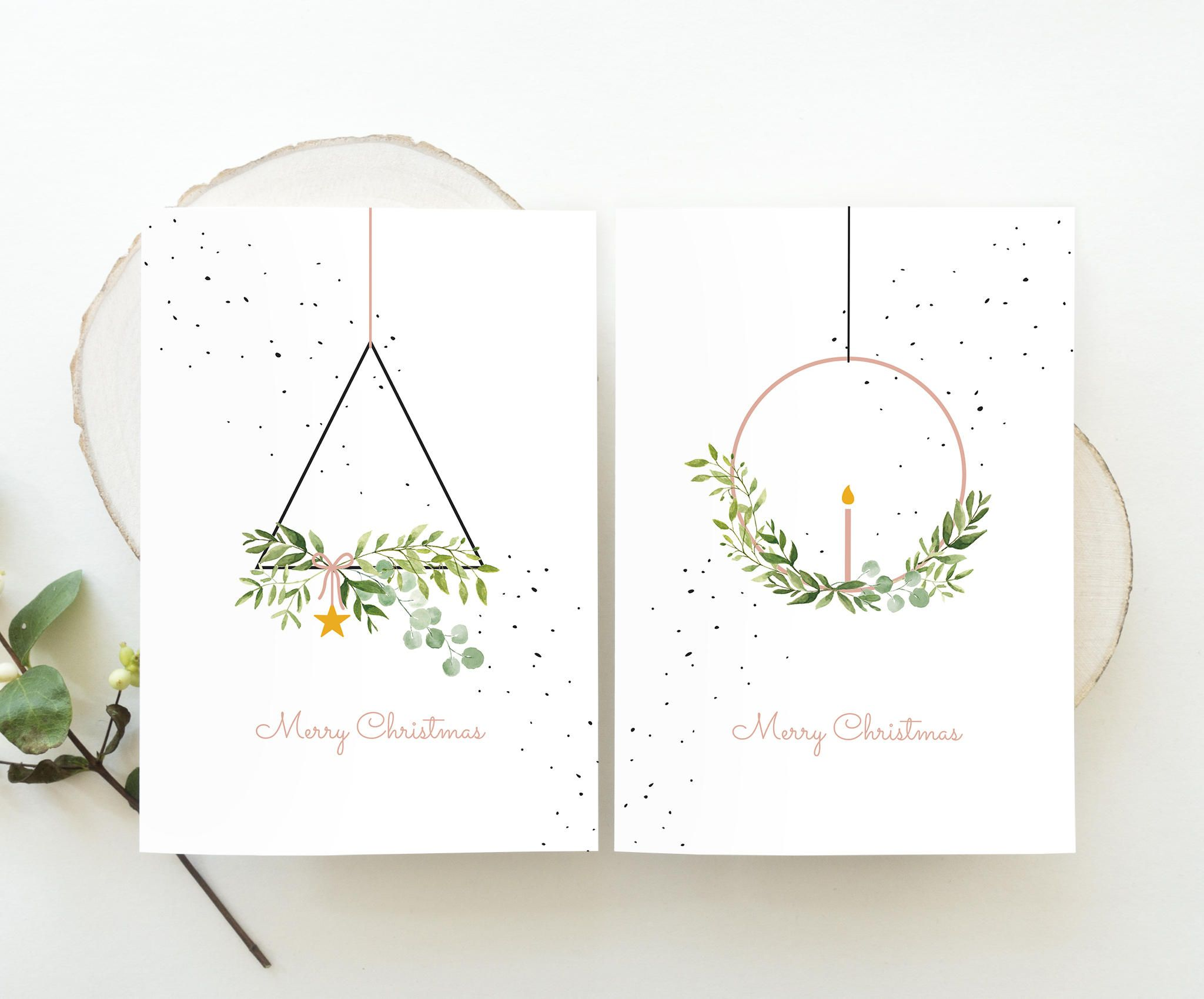 Cartes de Noel ensemble Wreaths-Merry Christmas, illustrations à l'aquarelle de Noel, couronne de Noel moderne, cartes de Noel à la mode nature, Noel 2019