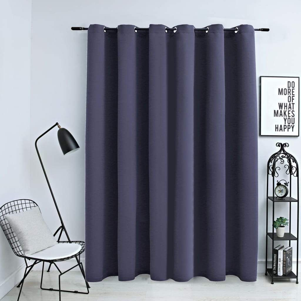 vidaXL Blackout Curtain with Metal Rings Anthracite 290x245 cm