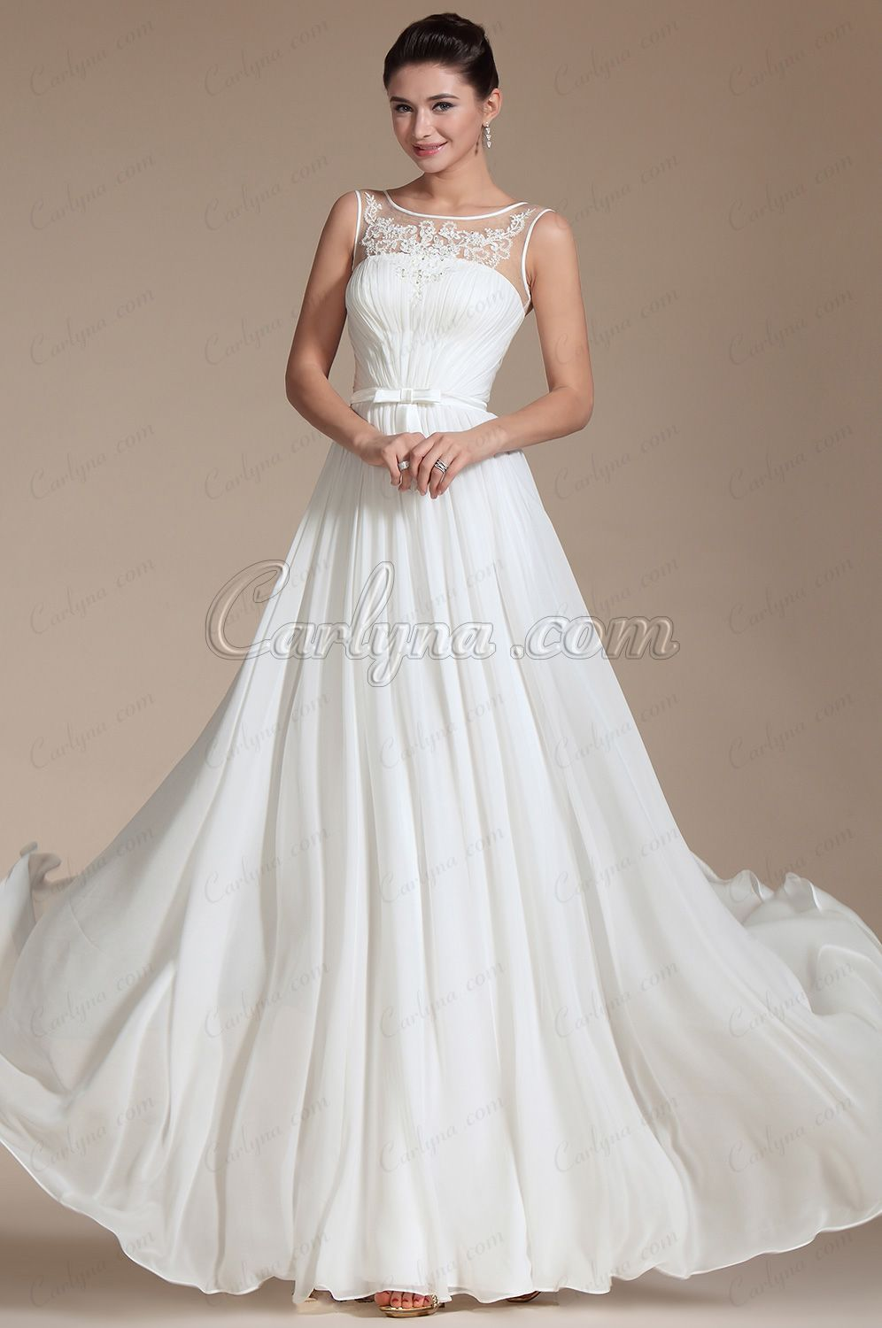 Sheer top wedding dress  USD  Sheer Top Lace Decoration Evening Gown C