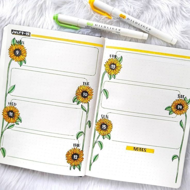 43 Super Sunny Sunflower bullet journal layout ideas | My Inner Creative