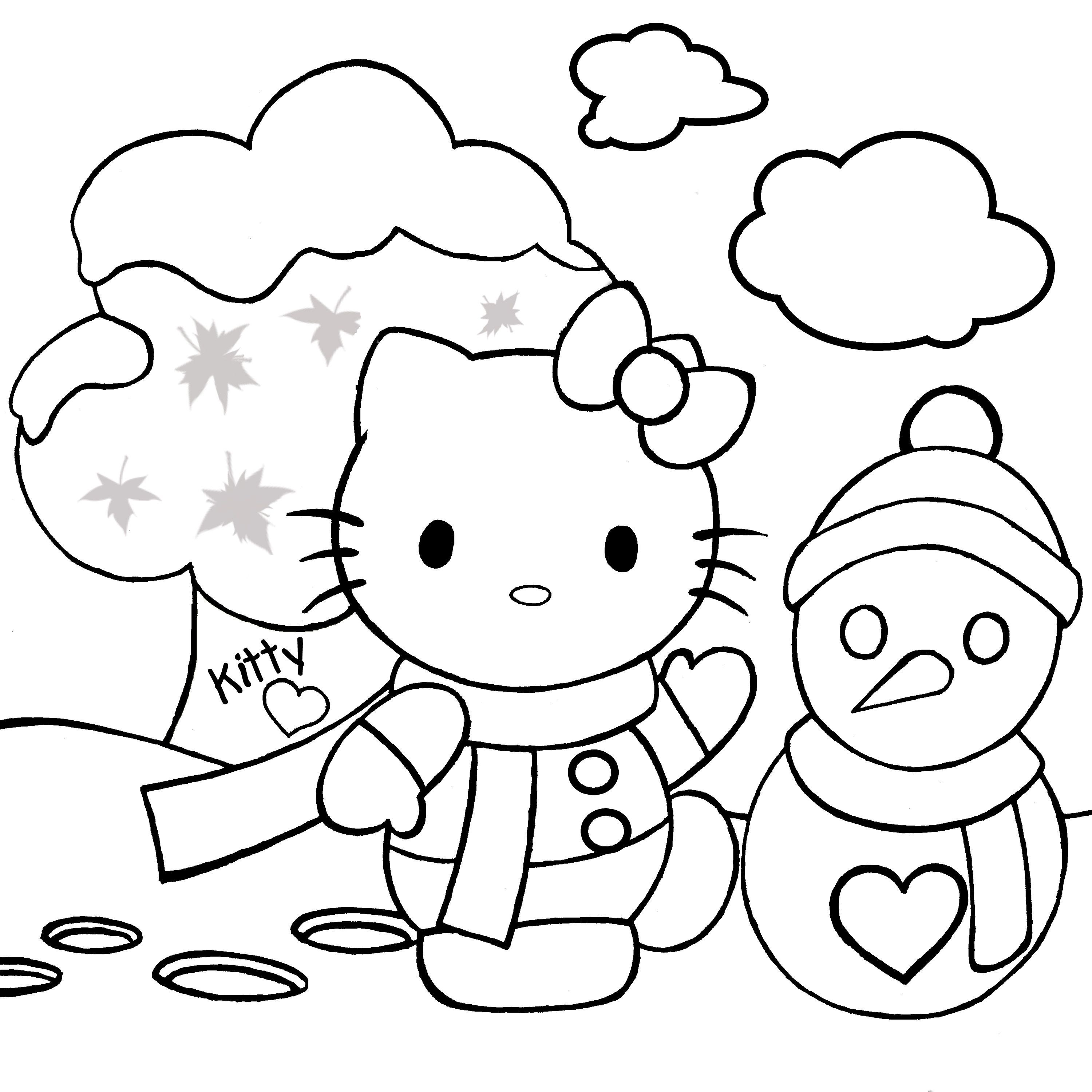 Print Out Merry Christmas Hello Kitty Coloring Pages