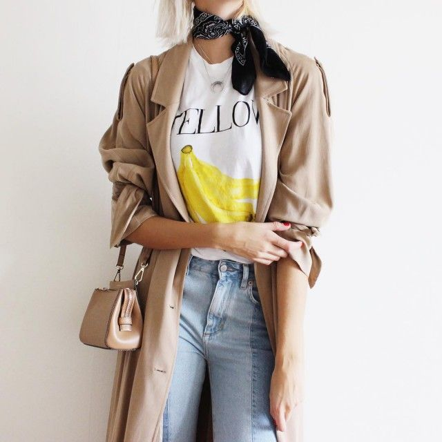 Yellow Wednesday ootd outfit connectedtofashion trenchcoat hmtrend jeans karenmillen ganni