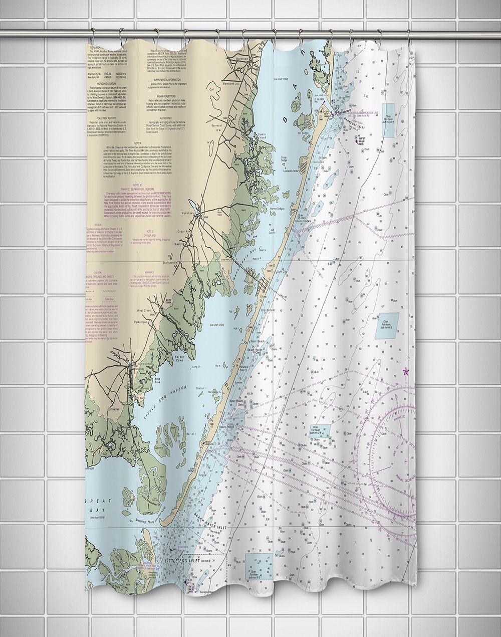 Nj Long Beach Island Nj Nautical Chart Shower Curtain Nautical