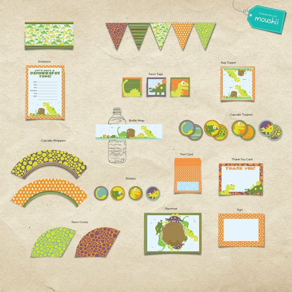 Dinorrific Dinosaur Theme Party Printable Kit by moushii on Etsy, $59.95