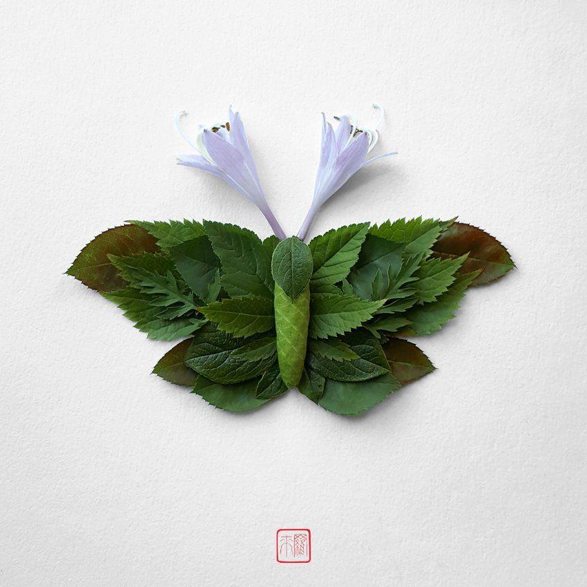 Ein paar grüne Blätter für den Körper und zwei weiße Blüten für die ...