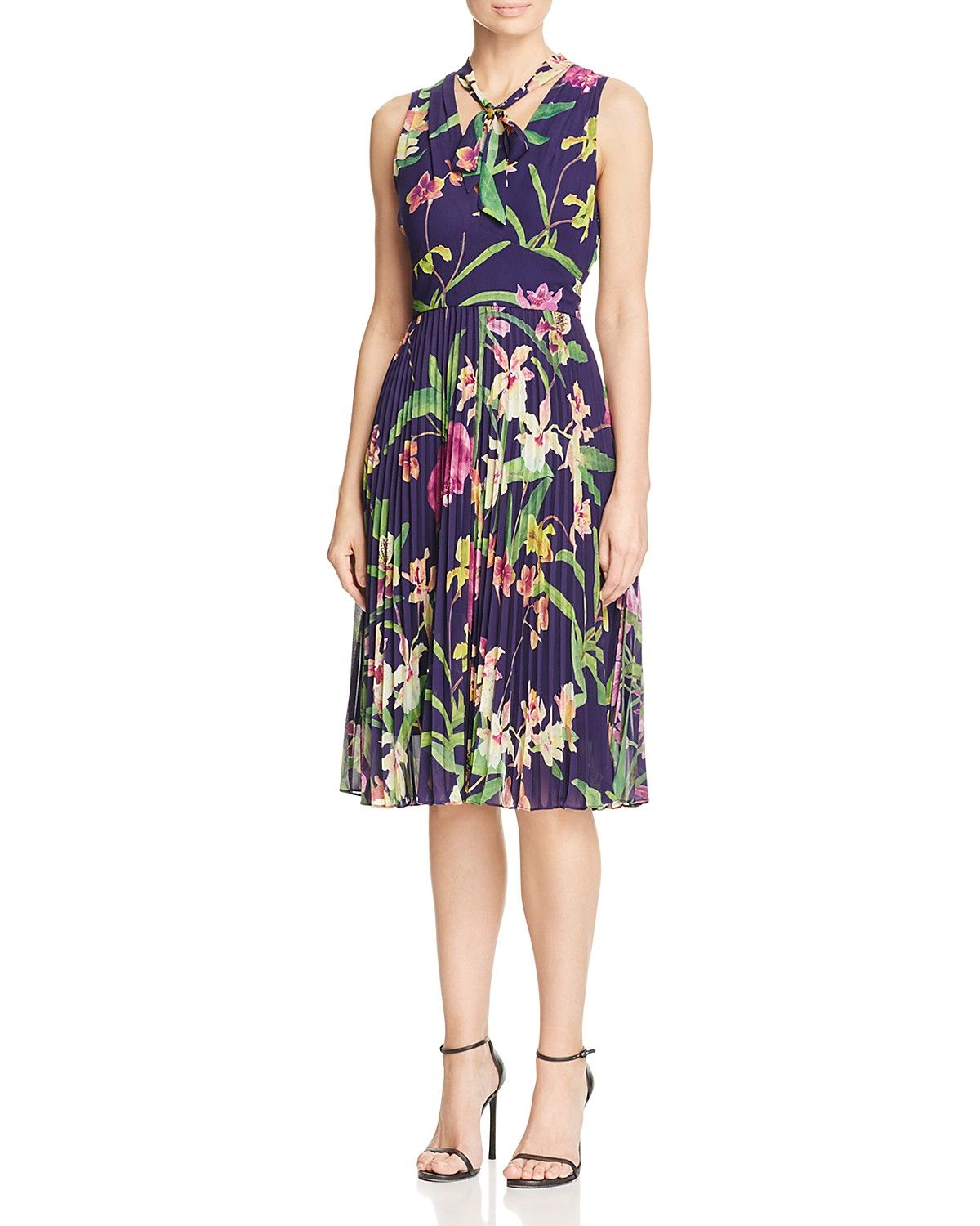 Karen millen atelier orchid print pleated dress long dresses