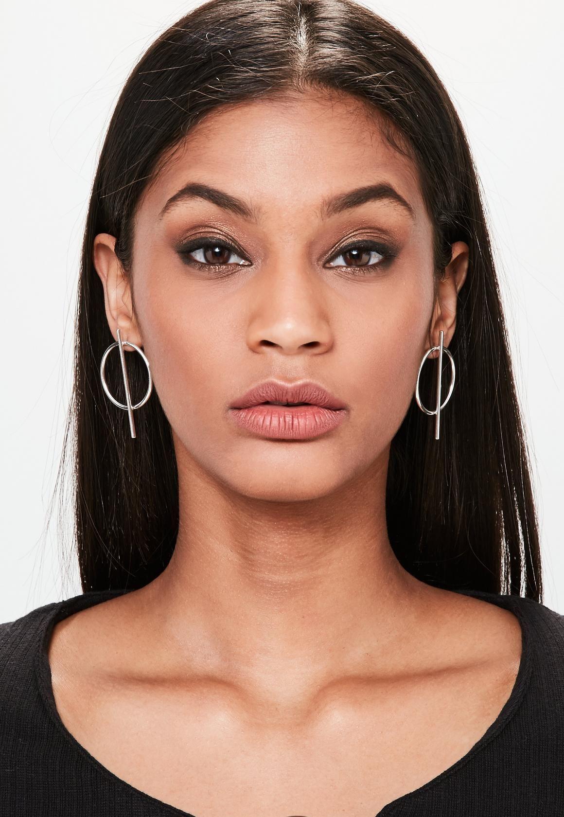 missguided - silver hoop bar earrings