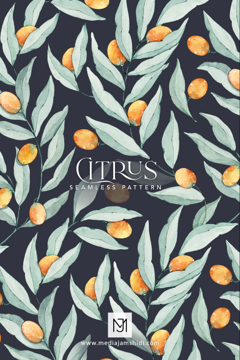 This Citrus seamless pattern is available for purchase in digital format. #patterndesign #textiledesign #surfacepatterndesign