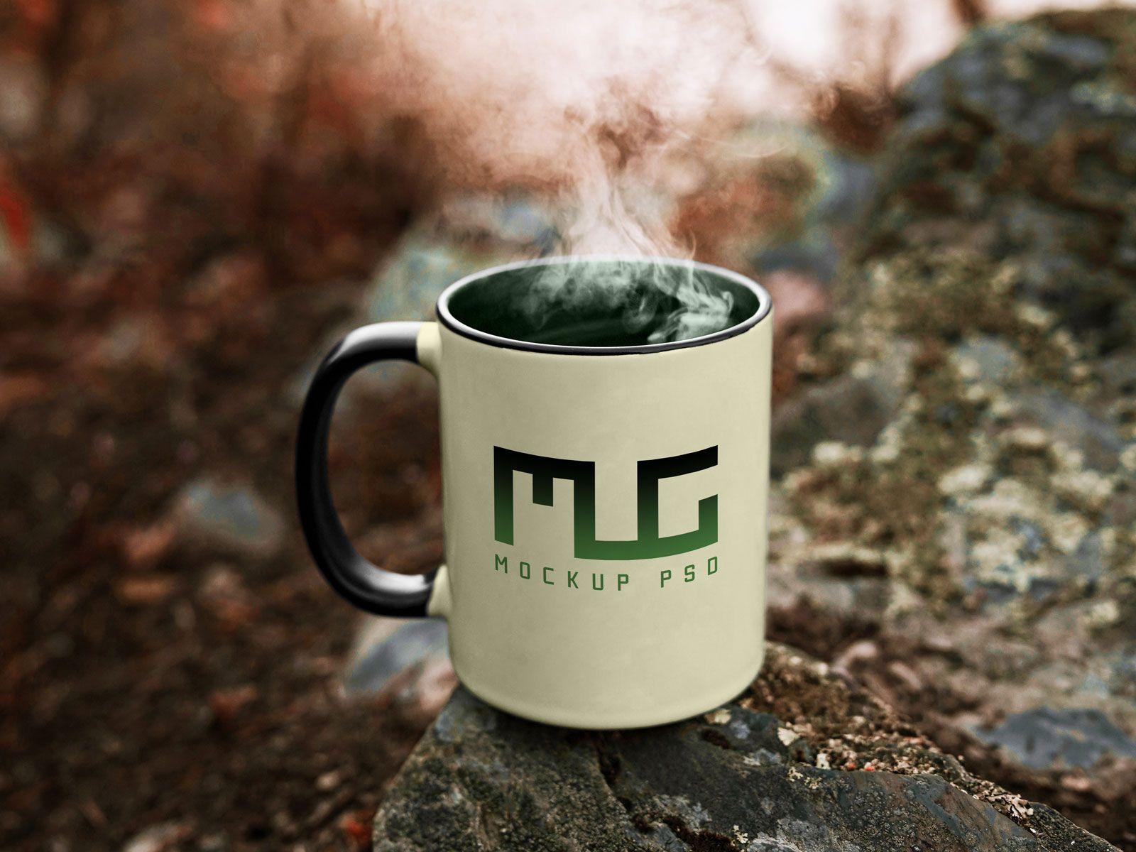 Vintage Coffee Mug Mockup on a Rocky Mountain Freebies