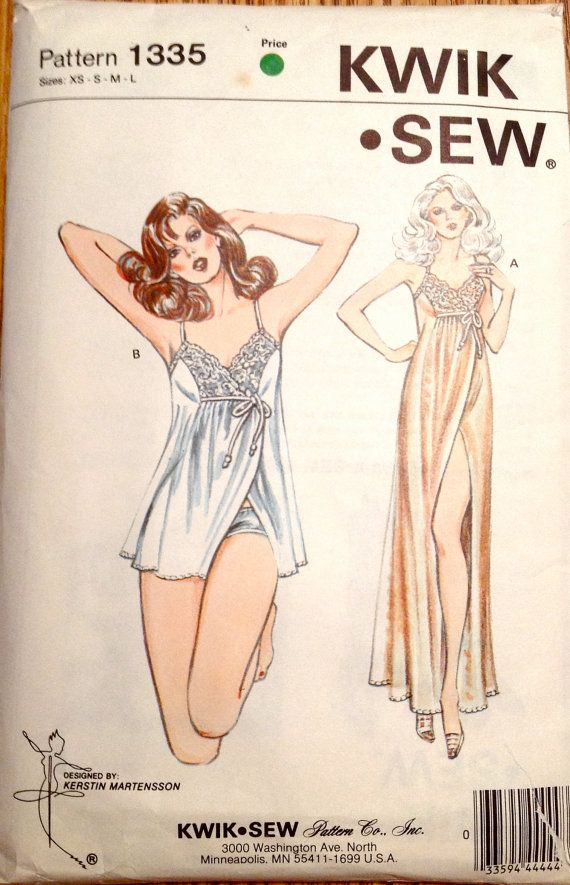 Kwik Sew 1335 1980s Misses Lacy Goddess NIGHTGOWN and PANTIES womens ...