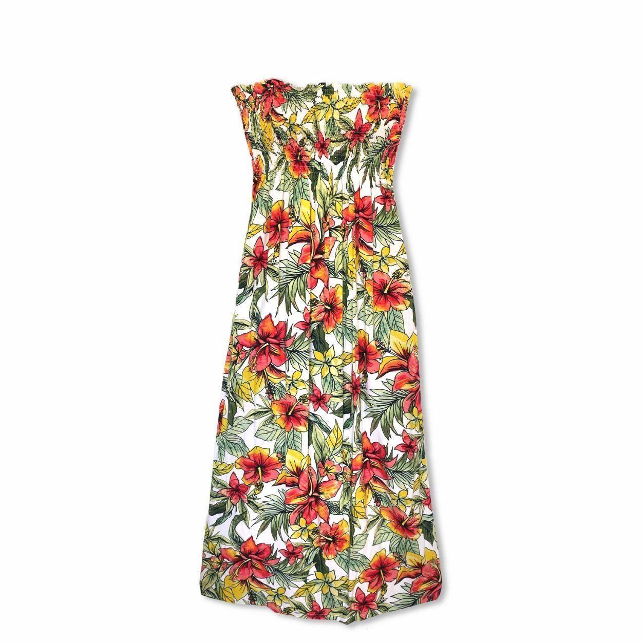 edcbb733593 Sunny White Maxi Hawaiian Dress  hawaiiandress  floraldress