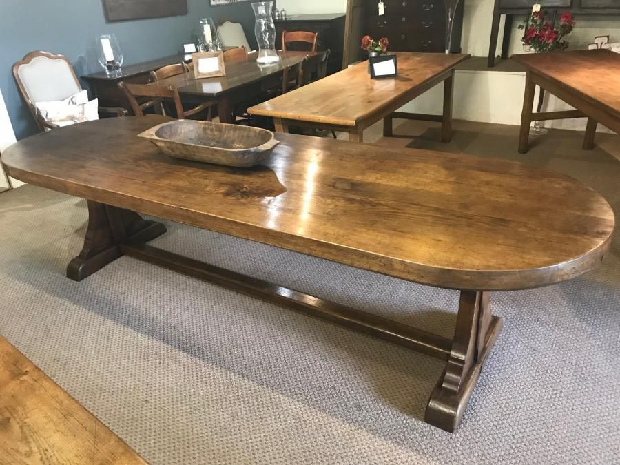 Oval oak antique farmhouse table, antique table, oval oak