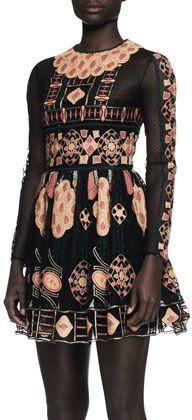 Valentino Long-Sleeve Embroidered Bambolina Dress on shopstyle.com