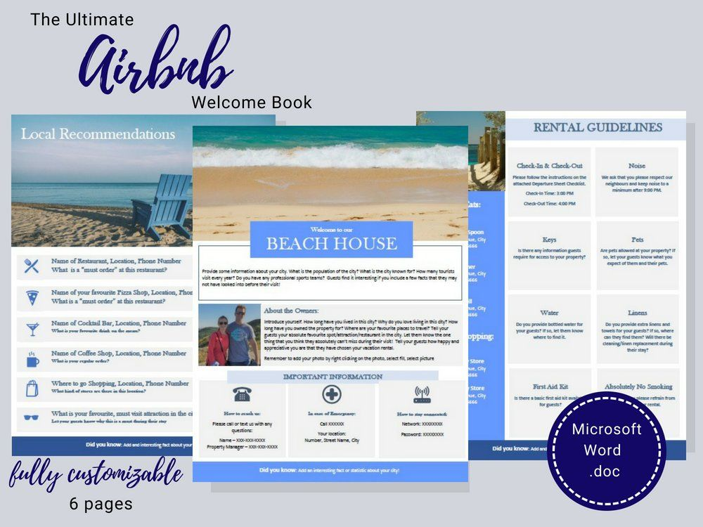 Welcome Book - Beach House - Guest Book - Airbnb - Vacation Rental