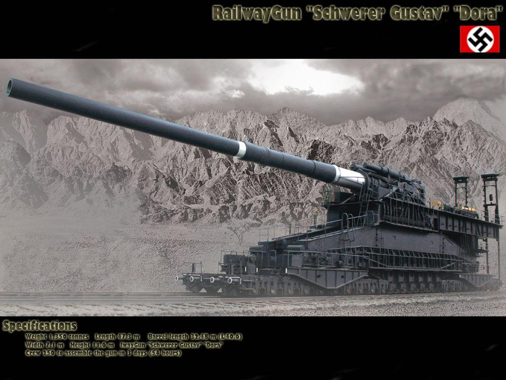 Schwerer Gustav 800mm rail gun was the largest rail car ...
