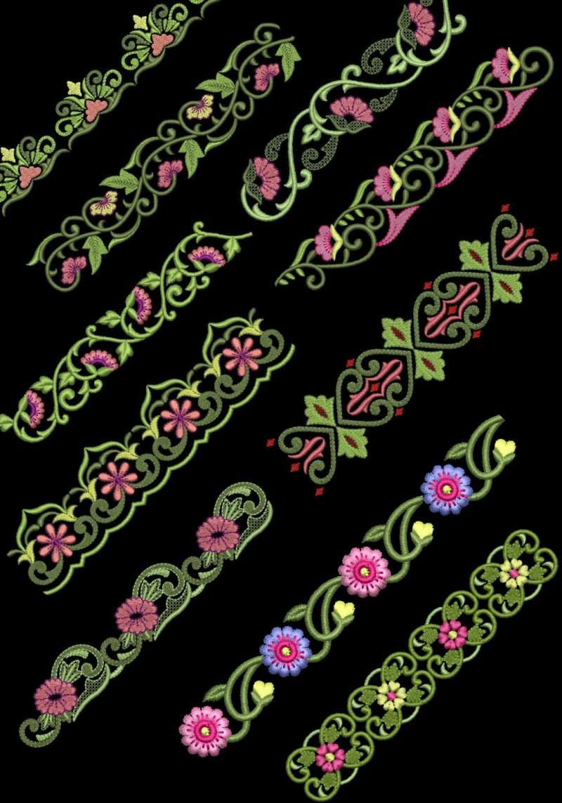 Belle Floral Borders Machine Embroidery Design Cd 4x4 For Brother