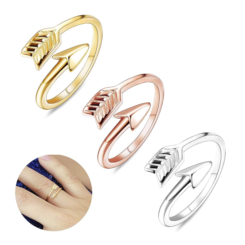 Finrezio 3 Pcs Adjustable Open Arrow Rings For Women Stackable