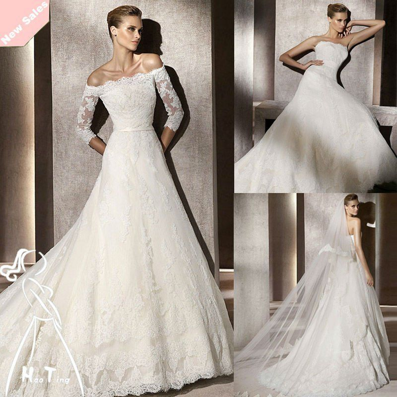 Lace Neck And Organza Body Long Sleeve Wedding Dresses Cheap
