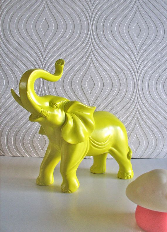 Mahzerandvee Home Accessories In Color And Awesome Vintage Finds Ollie The Fun Glossy Yellow Elephant