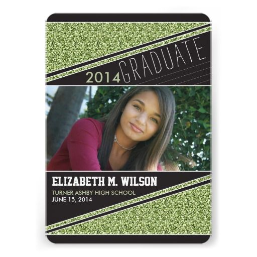 Glitter Bling Graduation Announcement lime green