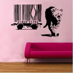 Banksy Leopard Wall Decal BarcodeWayfair.de