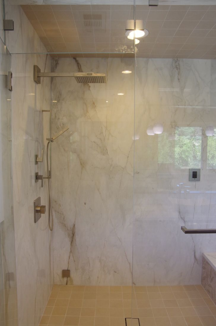 Tile Plus installed #white #marble all around the #shower walls and ...