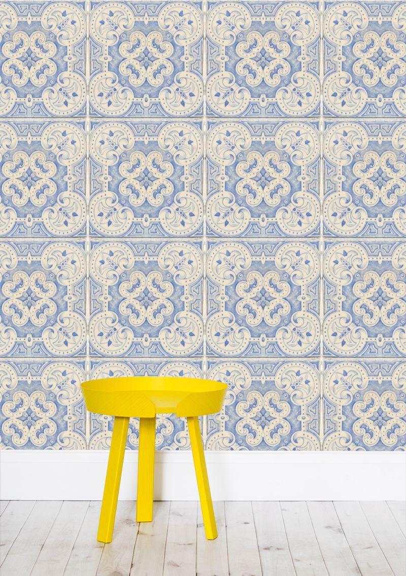Vintage Blue Tiles Pattern Wallpaper By Anna Lemos Annalemos From 45 00 Per M Mipic Blue Tile Patterns Wallpaper Pattern Wallpaper