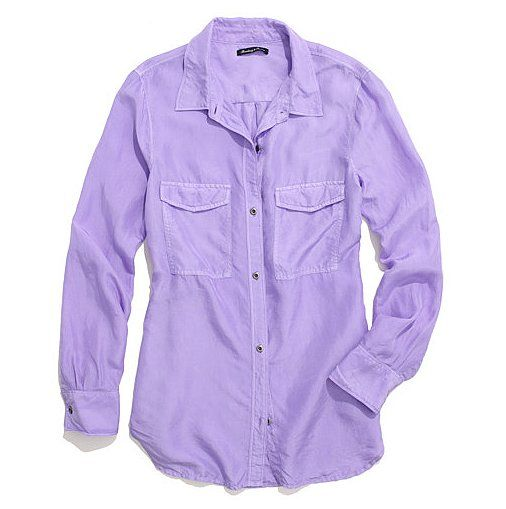 Lavender Madewell Washed-Silk Boyshirt