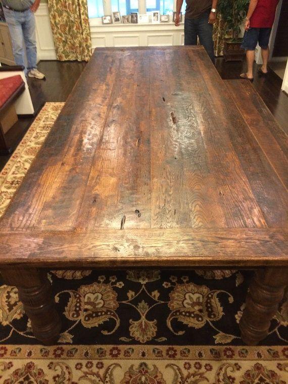 10 Foot Antique Reclaimed Oak Farm Table By