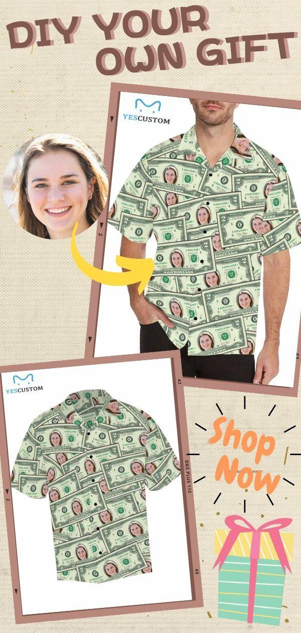 Custom Face Money Men's All Over Print Hawaiian Shirt