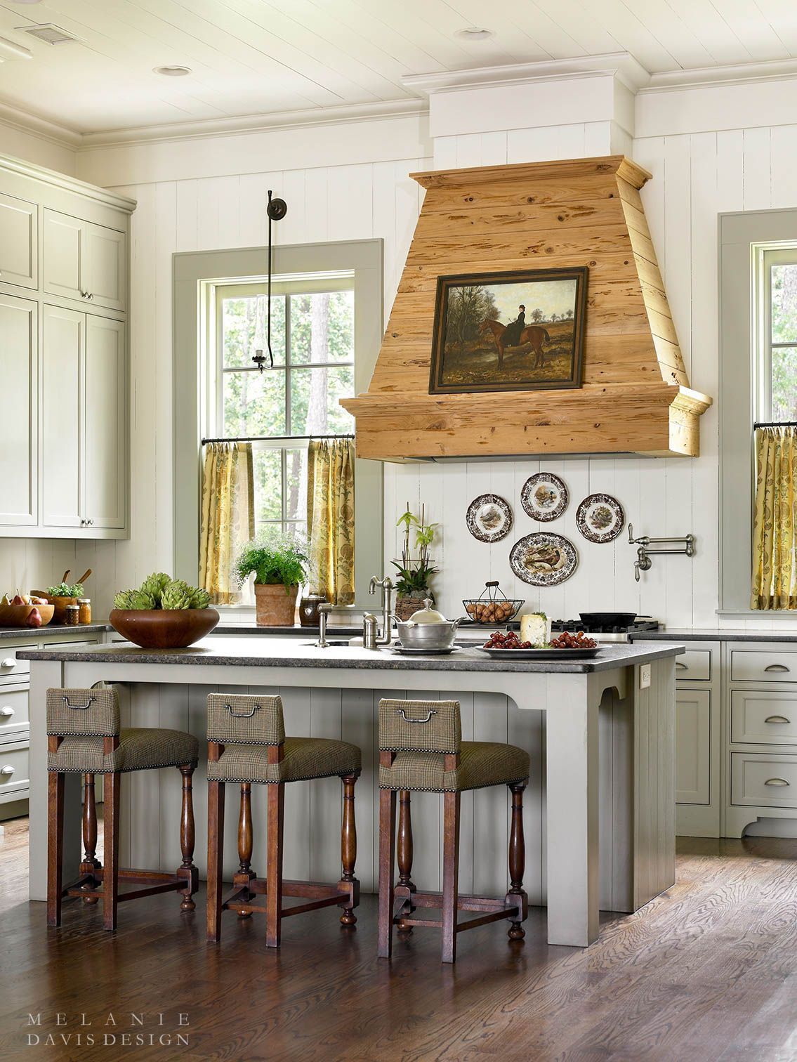 Custom Country Kitchen home interior design — country kitchen with shiplap walls and a