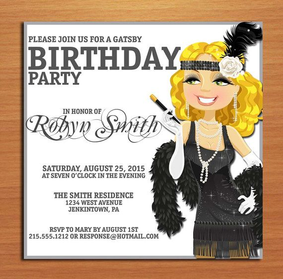 Great Gatsby Silver Flapper Birthday Customized Printable – Great Gatsby Party Invitation
