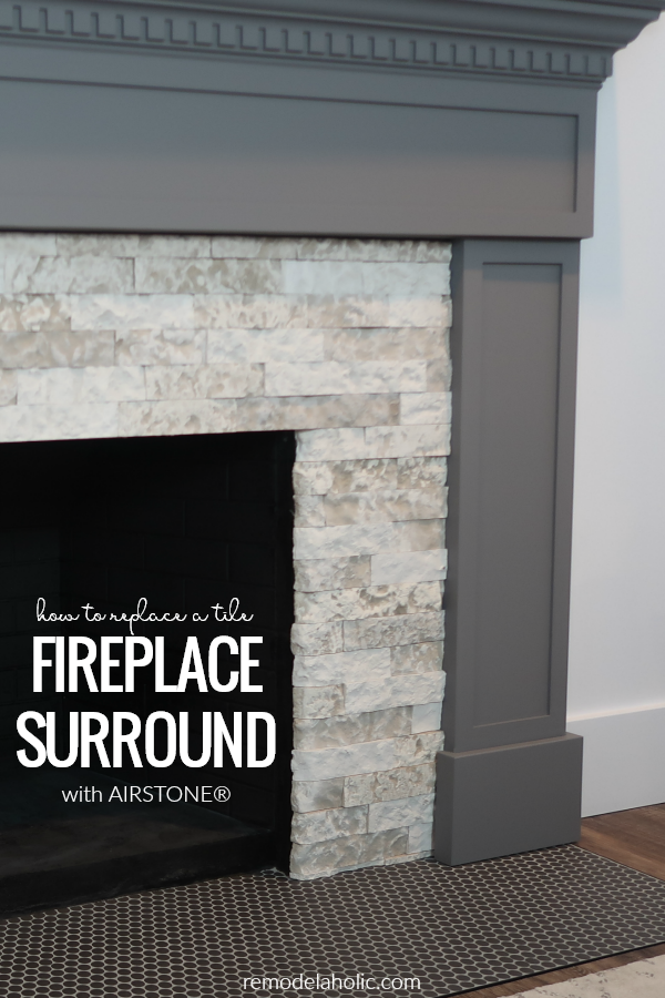 Diy Fireplace Makeover How To Remove A Tile Fireplace Surround And Install A Faux Stone A Diy Stone Fireplace Stone Fireplace Makeover Fireplace Tile Surround
