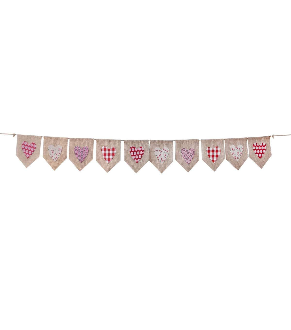 Decorate your home or party space with the Valentines Day Burlap Banner-Printed Hearts. This fun Valentine's Day banner features assorted hearts that makes it a lovely wall decor accent for the occasi