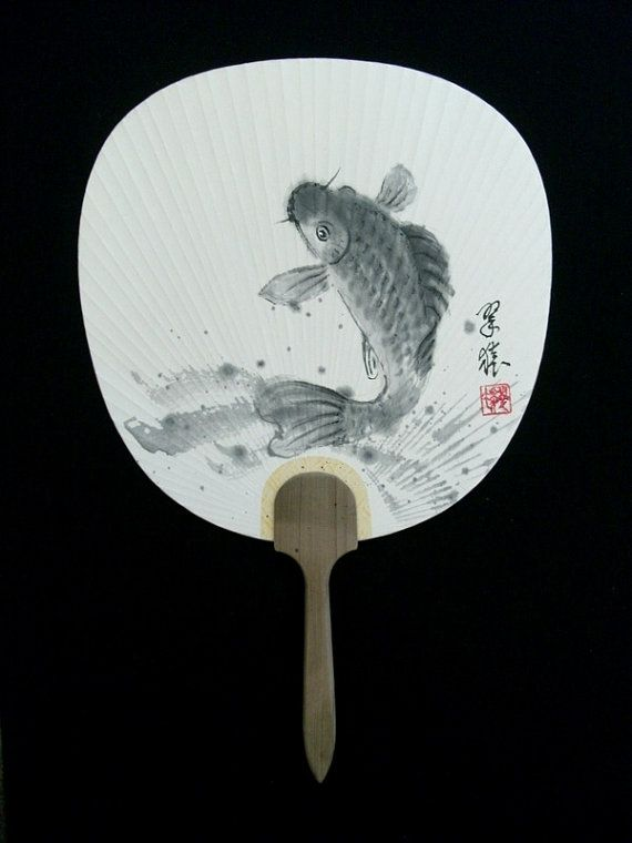 original japanese sumie ink wash painting uchiwa fan by by suiendo