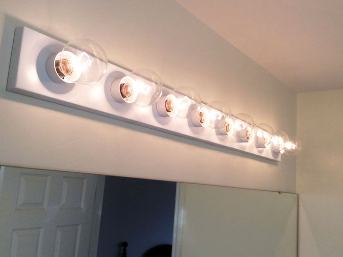Cheap and easy diy update to a hollywood brass strip light for Bathroom strip light
